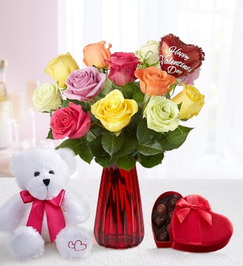 One Dozen Assorted Roses for Romance