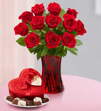 One Dozen Red Roses + Free Chocolate