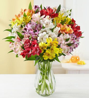 50 Blooms Of Peruvian Lilies with Free Clear Vase