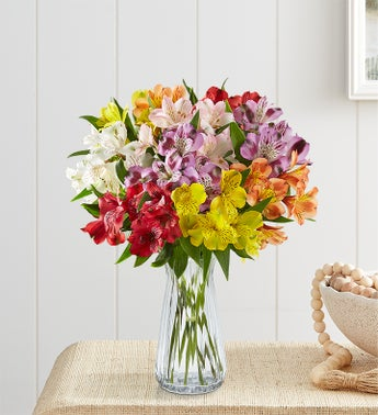 Peruvian Lilies: 10 Stems with Clear Vase & Free Shipping $35.00