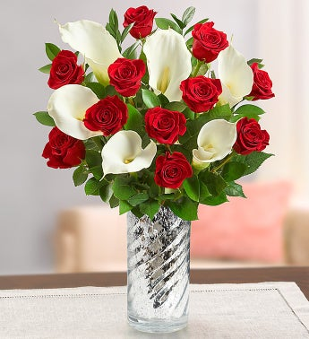 Red Rose & Calla Lily + Free Vase