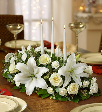 All White Holiday Centerpiece
