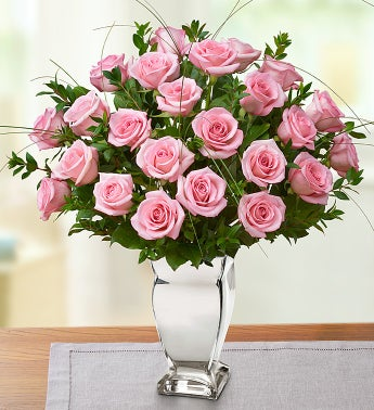 Premium Long Stem Pink Roses in Silver Vase