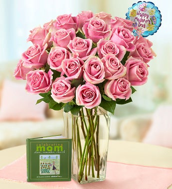 Pretty in Pink Rose Bouquet with Balloon