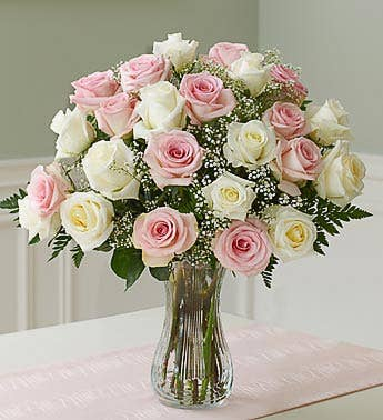 Two Dozen Long Stem Pink  White Roses