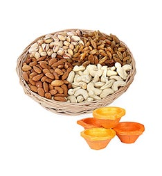 Dry Fruits Basket & Diyas