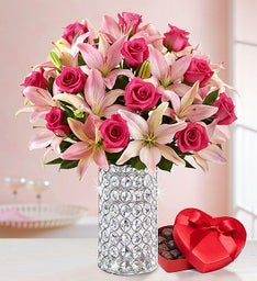 Magnificent Pink Rose & Lily Valentine's Bouquet