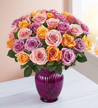 Sorbet Roses 36 Stems with Purple Vase