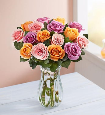 Sorbet Roses 18 Stems with Clear Vase