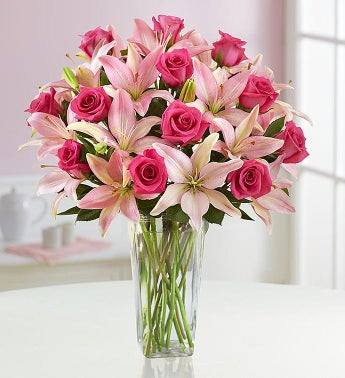 Magnificent Pink Rose & Lily Bouquet + Free Clear Vase
