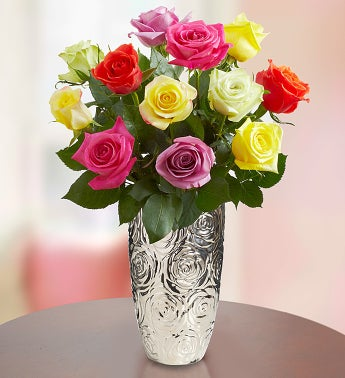 12 Stem Multi Roses with Silver Embossed Vase