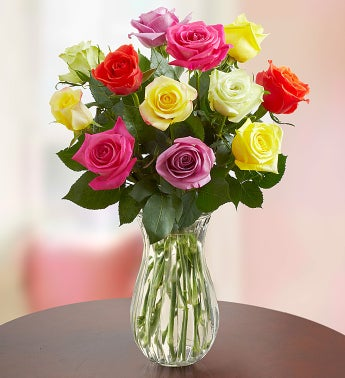 12 Stem Multi Roses with Clear Vase