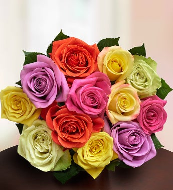 12 Stem Multi Roses Bouquet Only