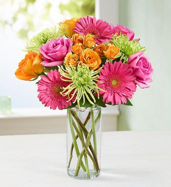 Vibrant Blooms Bouquet with Clear Cylinder Vase