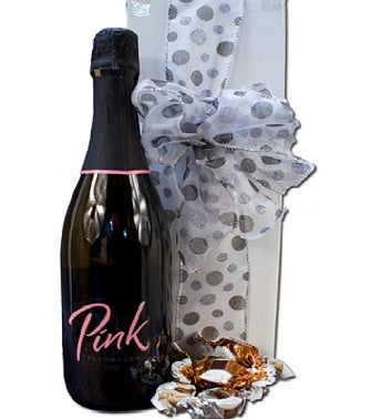 Pink Sparkling Wine With Chocolates Gift Box