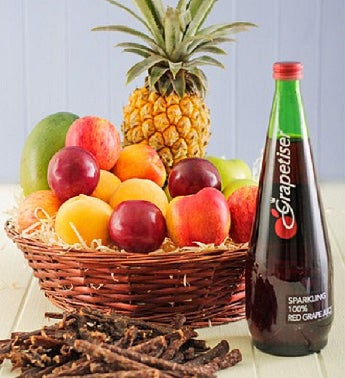 Fruit with Sparkling Juice and Biltong Gift