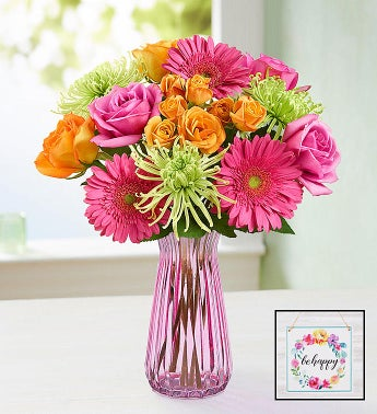 Vibrant Blooms Bouquet with Pink Vase & Be Happy Wall Décor
