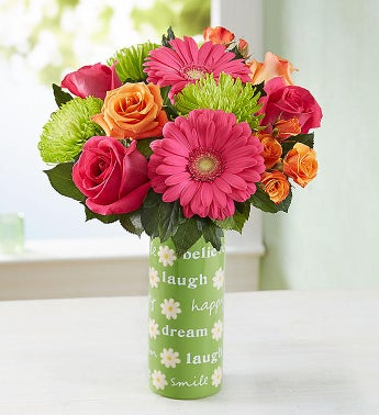 Vibrant Blooms Bouquet  with Lotsa Happy Wishes Vase
