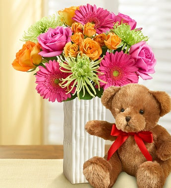 Vibrant Blooms Bouquet with Bear