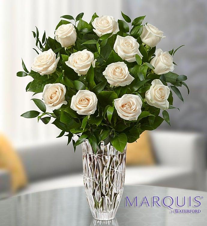 Flowers: Marquis by Waterford® Premium White Roses 12 Stems in Waterford® Vase- Flower Arrangements