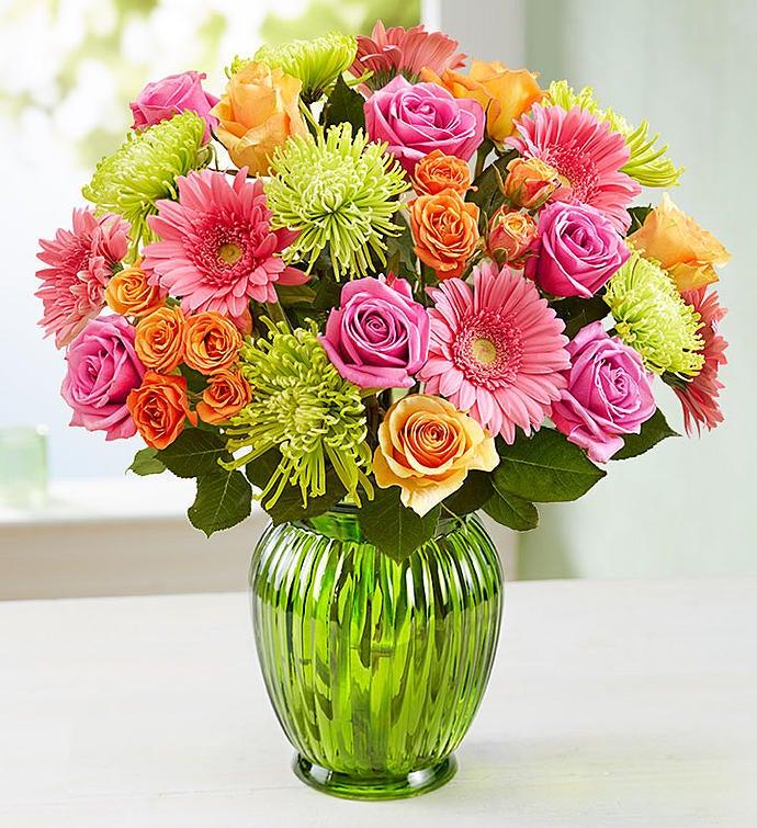 Vibrant Blooms Bouquet Double Bouquet with Green Vase