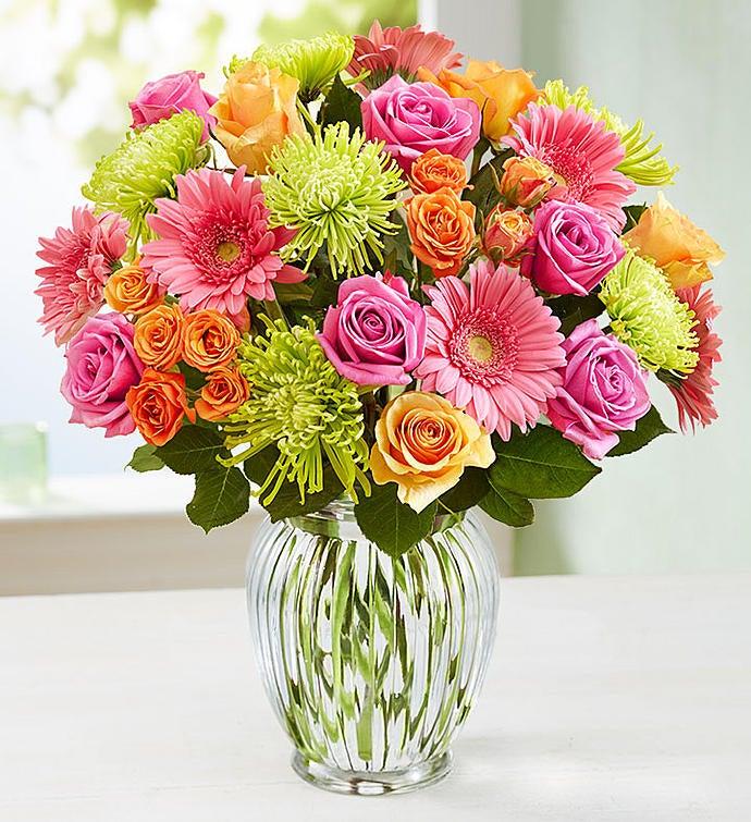 Vibrant Blooms Bouquet Double Bouquet with Clear Vase