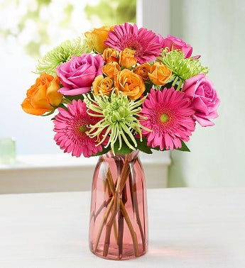 Vibrant Blooms Bouquet with Pink Vase