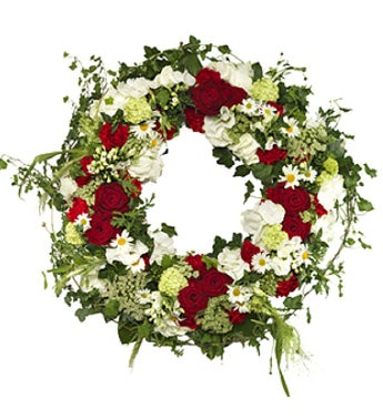 Lovely Red and White Funeral Wreath