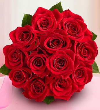 One Dozen Red Roses Bouquet Only