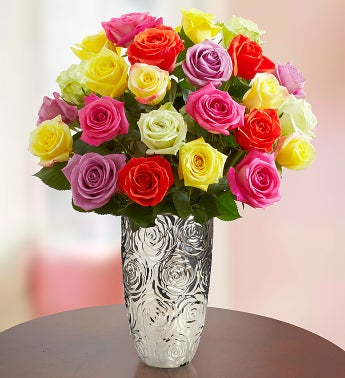 Two Dozen Assorted Roses with Silver Embossed Vase
