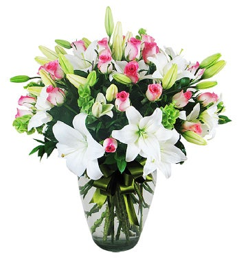 Lovely Pink Roses and White Lilies