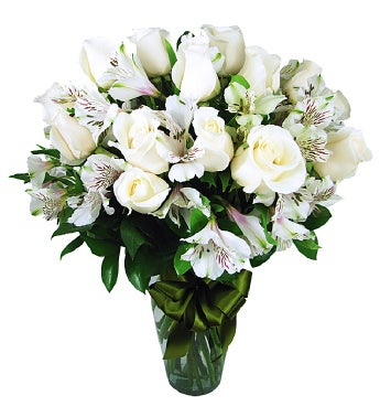White Roses with Peruvian Lilies