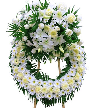 24 White Roses Sympathy Wreath with One Crest