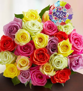 Happy Birthday Assorted Roses,  24 Stems Bouquet Only