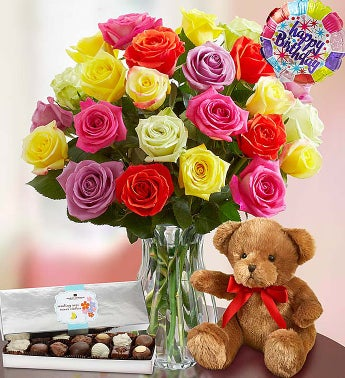 Happy Birthday Assorted Roses,  24 Stems with Clear Vase, Bear & Chocolate
