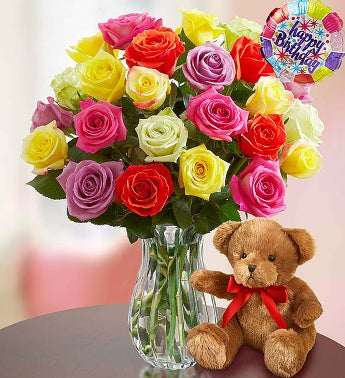 Happy Birthday Assorted Roses,  24 Stems with Clear Vase & Bear