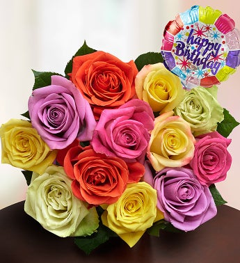 Happy Birthday Assorted Roses,  12 Stems Bouquet Only