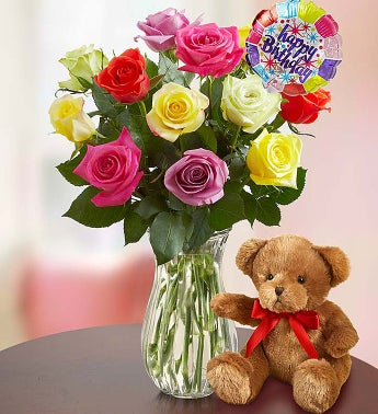 Happy Birthday Assorted Roses,  12 Stems with Clear Vase & Bear