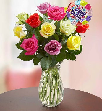 Happy Birthday Assorted Roses,  12 Stems with Clear Vase