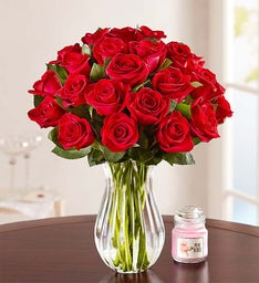 Two Dozen Red Roses + Free Vase & Free Candle