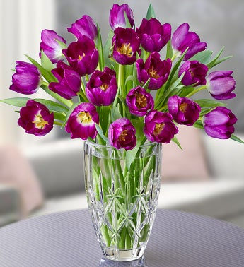 Marquis by Waterford® Vase + 20 Purple Tulips