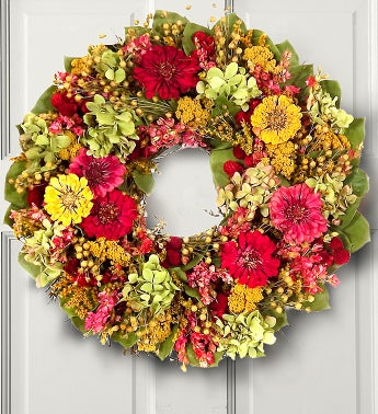Preserved Zinnia Garden Wreath- 16