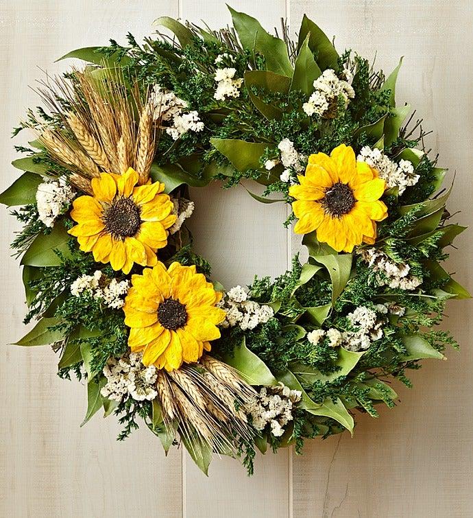 """Preserved Sunflower Wreath – 16"""""""