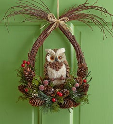 Faux Woodland Owl Wreath - 12""