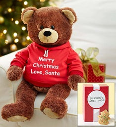 Personalized Holiday Gund® Bear with FREE COOKIES