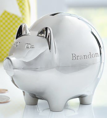 Personalized piggy bank - Engraved silver piggy bank ...