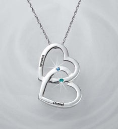 Personalized Couple's Interlocking Heart Pendant