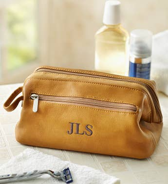 Personalized Men's Leather Toiletry Bag