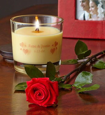 Personalized Woodwick® Candle with Rose