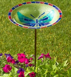 Mosaic Butterfly Bird Bath